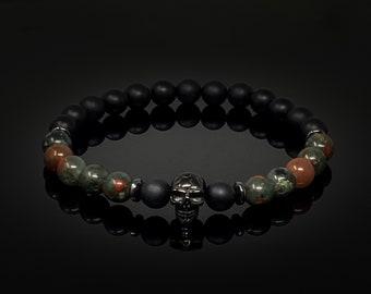 8mm Skull Onyx Bracelet, Skull Bracelet, Black Beaded Bracelet, Mens Bracelet, Healing Bracelet for Men, Bloodstoone Bracelet, Gift for Him
