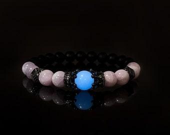 8mm Glowing Kunzite and Onyx Bracelet, Anxiety and Stress Relief, Healing Bracelet, Glowing Quartz, Natural Kunzite Bracelet, Crown Bracelet