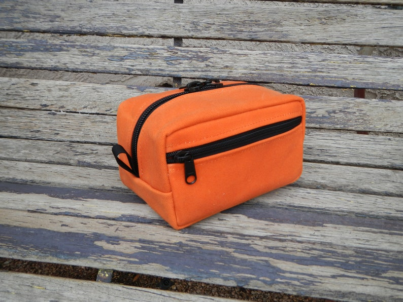f8b1fd9f1232 Medium Orange Dopp Kit, Travel Kit, Toiletry Bag, 2nds, Dopp Kit, Organizer  Kit, USA, Makeup Kit, Shaving Kit, Hand Waxed, Handmade.