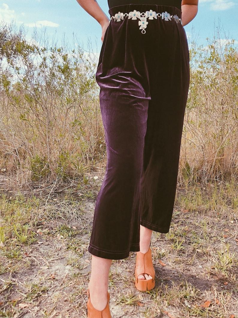 Vintage 90s does 70s LT SPORT Aubergine Velvet Cropped Widelegs