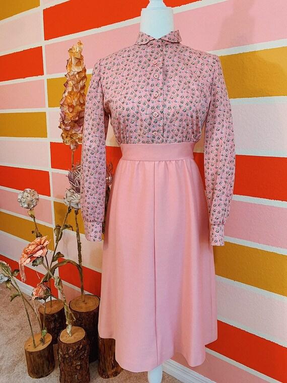 Vintage 60s 70s Leslie Fay Dusty Rose Prairie Dres