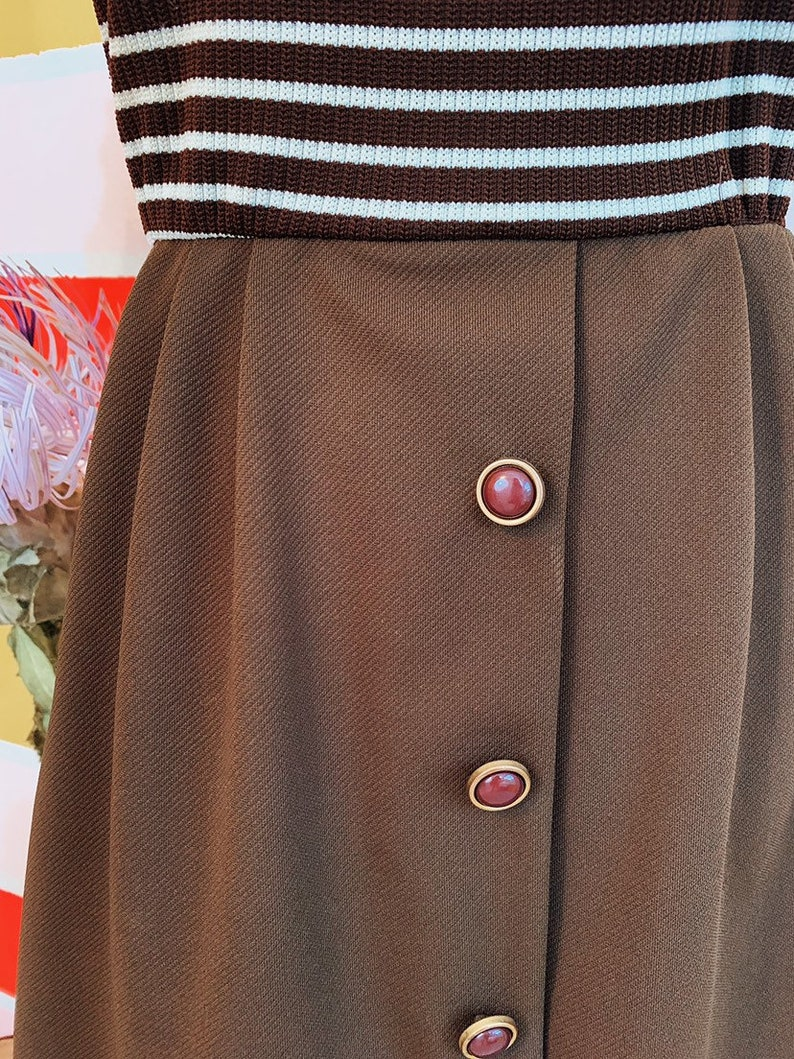 Vintage 60s Chocolate Striped Mod Midi Dress