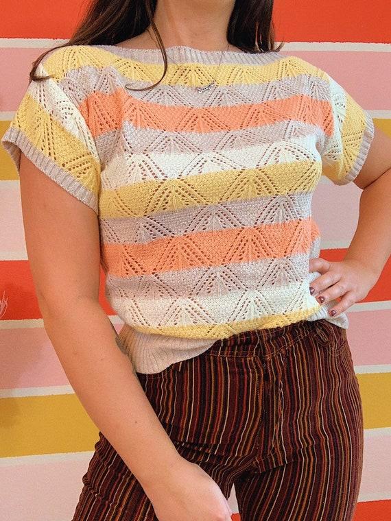 Vintage 70s BLAIR Peekaboo Short Sleeve Sweater To