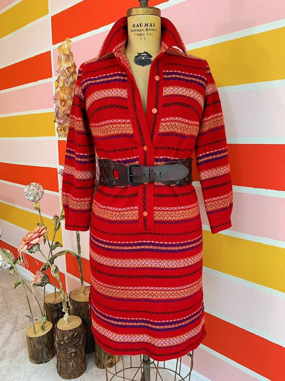 Vintage 60s 70s Nelly Don Red Wool Bohemian Dress