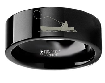 Thorsten Wildlife Salmon Fish Sea Print Pattern Ring Flat Black Tungsten Ring 10mm Wide Wedding Band from Roy Rose Jewelry