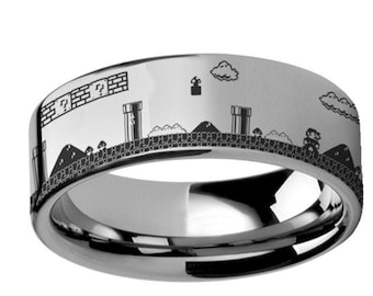 Super Mario Bros Classic Video Game Tungsten Wedding Band Ring with FREE Custom Engraving by Thorsten from Roy Rose Jewelry