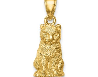 34 Estate 10k Yellow White Gold Cat Sitting Tree Cats Kitten Pendant Charm G135