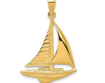 Details about  /New Real Solid 14K Gold 25MM Single Mast Sloop Sailboat Charm Pendant