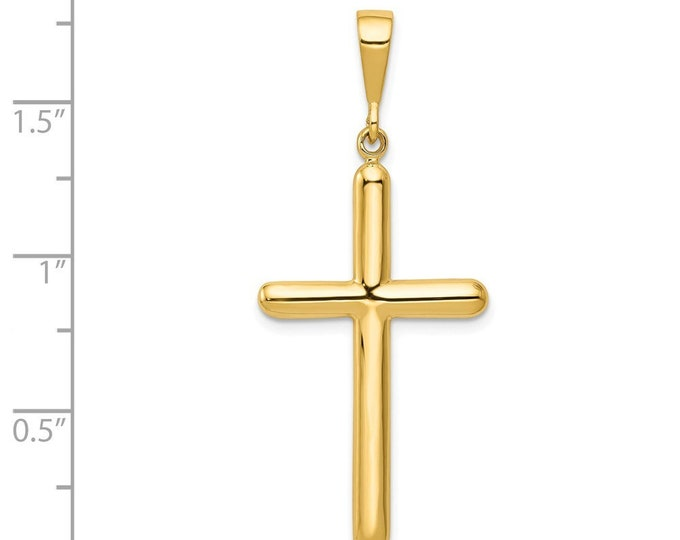 14K Yellow Gold Cross Pendant 46mm length