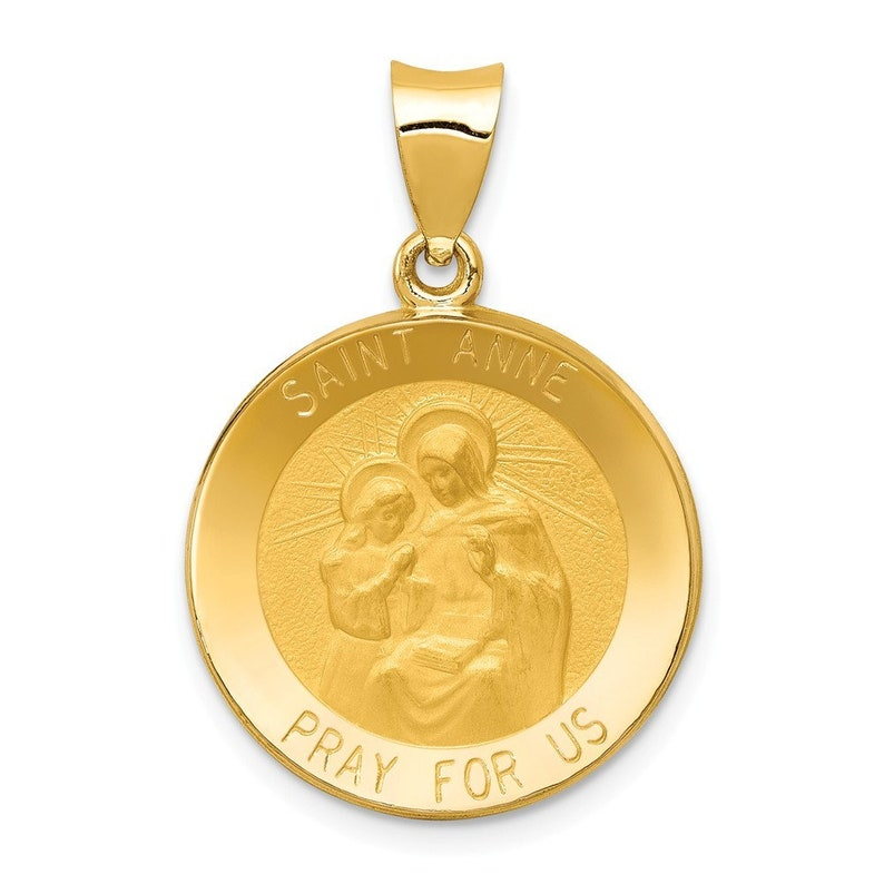 14K Yellow Gold Polished and Satin St Anne Medal Pendant 18mm width