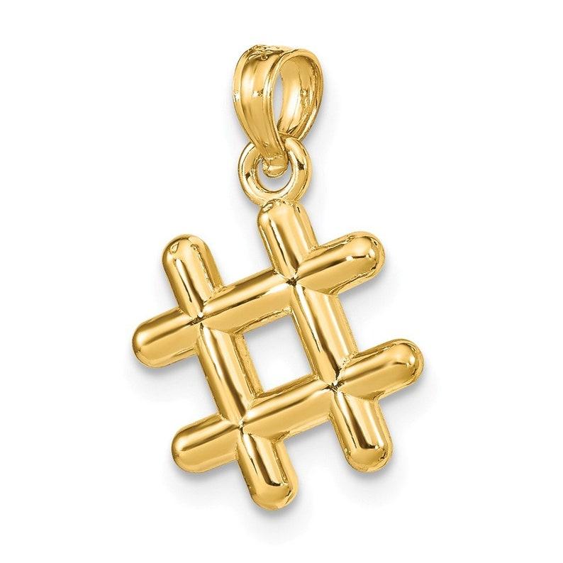 14K Yellow Gold 3-D # Hashtag Charm Pendant