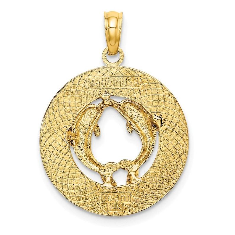 14K Yellow Gold DOCKYARD BERMUDA Round Frame With Dolphins Charm Pendant