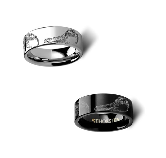 Thorsten Star Wars Jabba The Hutt Design Tungsten Ring 8mm Wide Wedding Band from Roy Rose Jewelry