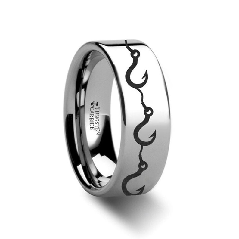 Multiple Fishing Hook Polished Tungsten Wedding Band Ring FREE Inside Band Engraving 4mm to 12mm Widths