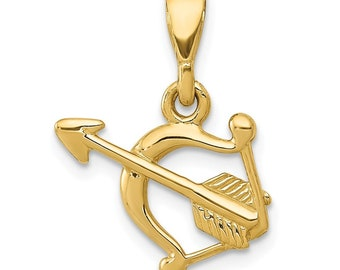 14k Yellow Gold Polished Bow & Arrow Pendant