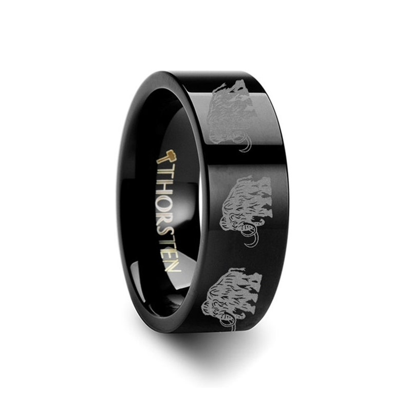 Dinosaur Mammoth Ring Prehistoric Paleo Print Black Tungsten Wedding Band Ring FREE Inside Band Engraving 4mm to 12mm Widths