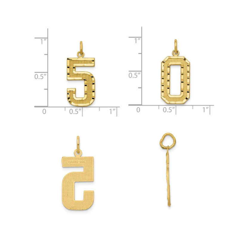 14K Gold Numbers Single or Double Digit Number Charm or Pendant Yellow or White Gold about 34 tall Diamond Cut