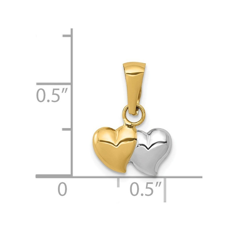 14K Yellow Gold with Rhodium Polished Two Heart Pendant
