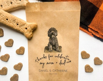 Wedding Favors Bags | Custom Pet Favor Bag | Thanks for Celebrating my Mom & Dad| Doggie Bag