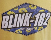 Vintage Blink 182 90 39 s Pop Punk Hibiscus Surf Hawaiian Anvil Mens T-Shirt Yellow L