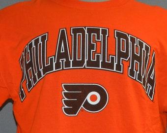 Vintage 90 s Philadelphia Flyers NHL Hockey Orange Jerzees T-shirt L aabee7521