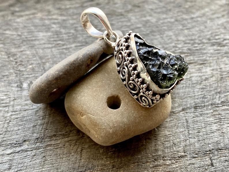 Crystal Healing Meditation High Vibrational Genuine Czech Moldavite 925 Silver Handmade Crystal Pendant