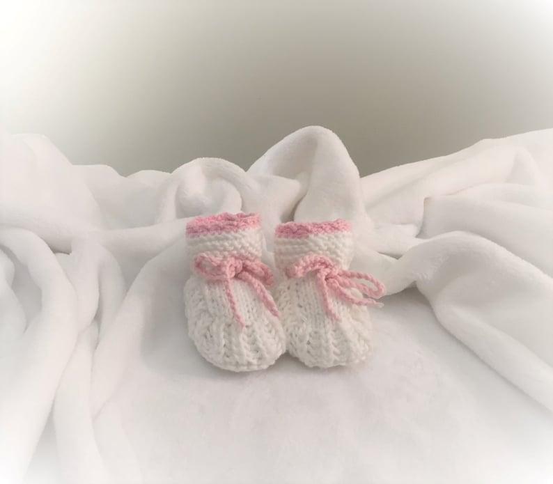 Hand Knit Elegant Baby Girl Booties WHITE