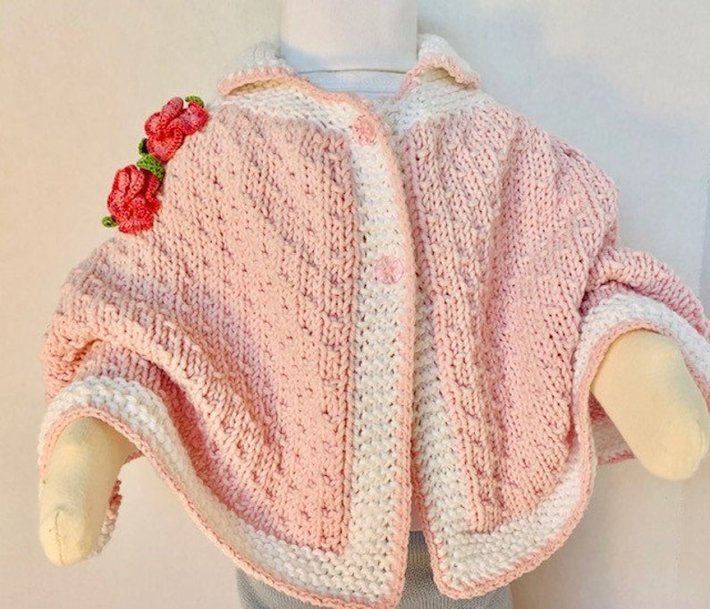 Hand Knit Elegant Baby Girl PONCHO AND HAT