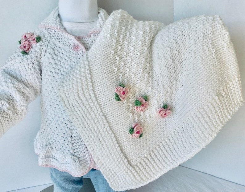 Sweater Hand Knit Elegant Baby Girl Blanket Hat and Booties Set MAGIC