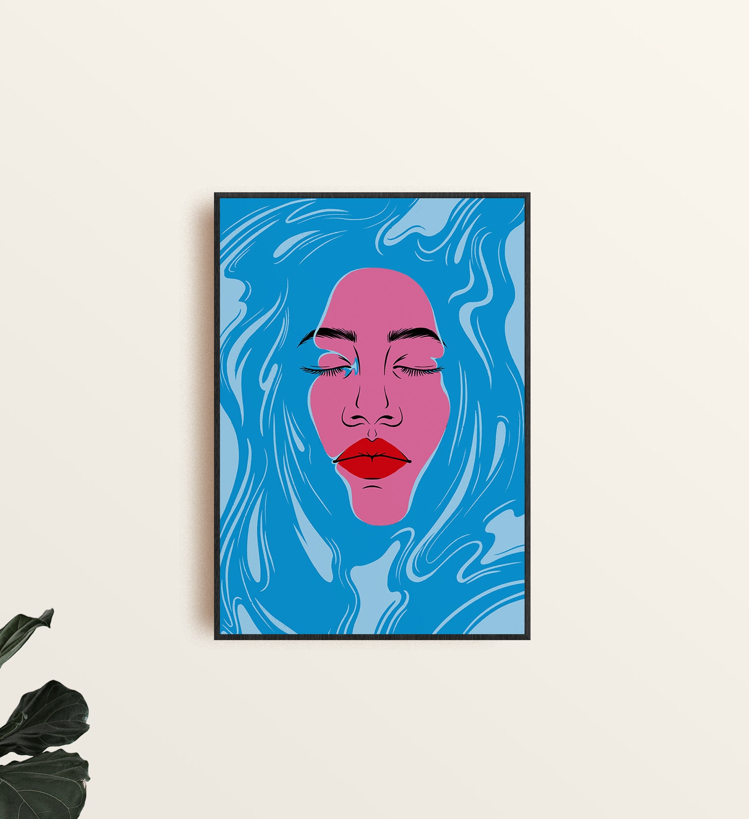 Head above water illustration. A3 print