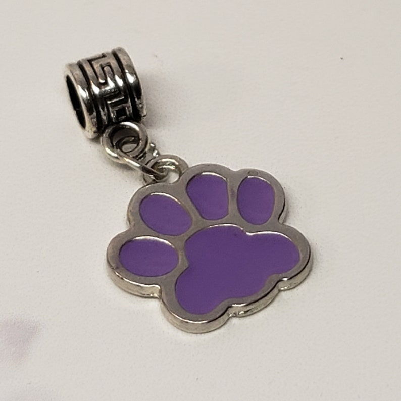 Purple Dangling Paw Print Cst Dog European Charm Bead