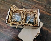 Set of Patron Silver Shot Glasses with Wood Case