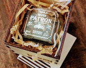 Patron Silver Shot Glass with Wood Case