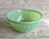 Vintage Jadite Fire King 7 quot Swirl Mixing Bowl Jadeite Green Opaque Glass Mid-Century Modern Jadeite Green Vintage