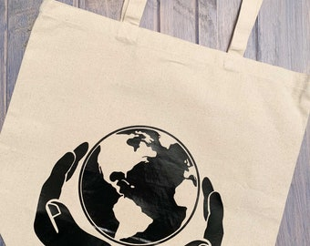 Save The Earth Tote Bag \u2022 Modern World Map /& Typographic Cotton Canvas Tote Bag \u2022 Eco Conscious Save The Earth Reusable Bag \u2022\u00a0FREE SHIPPING