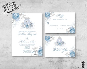 Instant Download Royal Quinceanera Quinceanera Cinderella Invitation Suite RSVP Card Details Card Editable Template Thank You Card