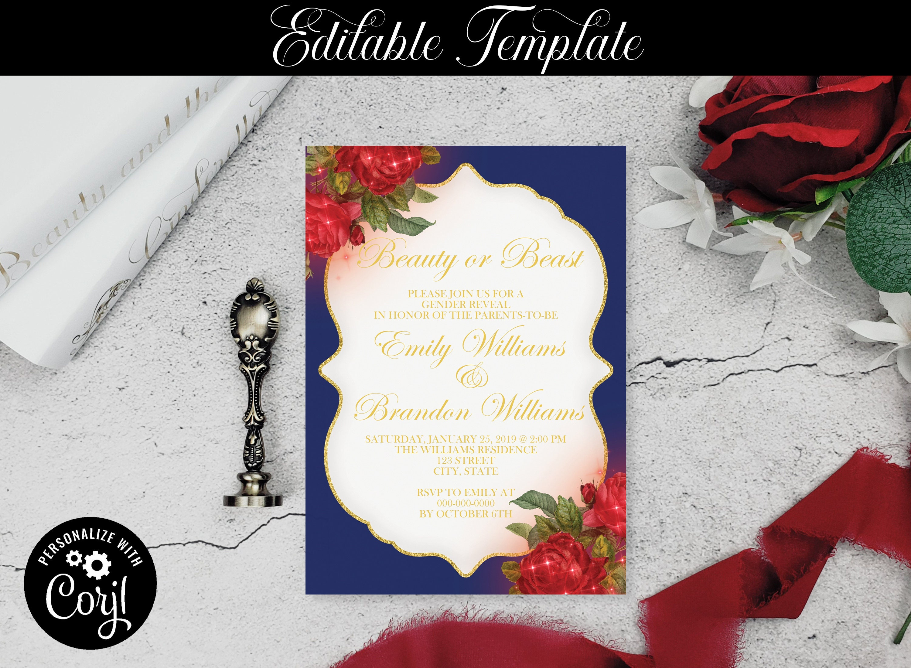 Rose Invitation Editable Template Fairytale Invite Invitation Template A1 Instant Download Beauty and the Beast Quinceanera Invitation
