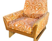 Mid-Century Modern Orange Botanical Lounge Chair by Adrian Pearsall