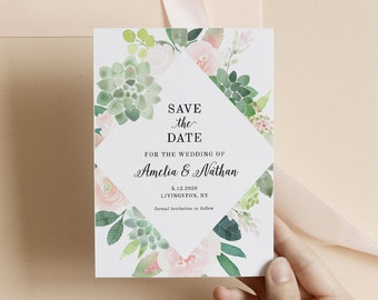 Instant Download Save the Date#T4 Save the Date Succulents Pink Green Simple Wedding Boho Greenery watercolor DIY Editable Templett
