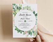 Bridal Shower Invitation, Succulent Greenery Blush Florals, DIY Printable Wedding Shower Invite, Editable Template, Corjl 001-201BS