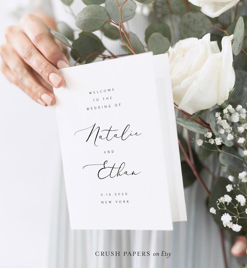 Folded Wedding Program Template Printable Order of Service image 0