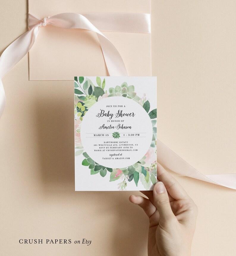 216bc581c Baby Shower Invitation Template Succulent Greenery   Blush