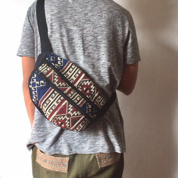 Tribal fanny pack Aztec pattern  Red,Bohemian hippie bag,Hip bag,Unisex Bum bag,money belt bag,Festival waist pocket belt,boho style