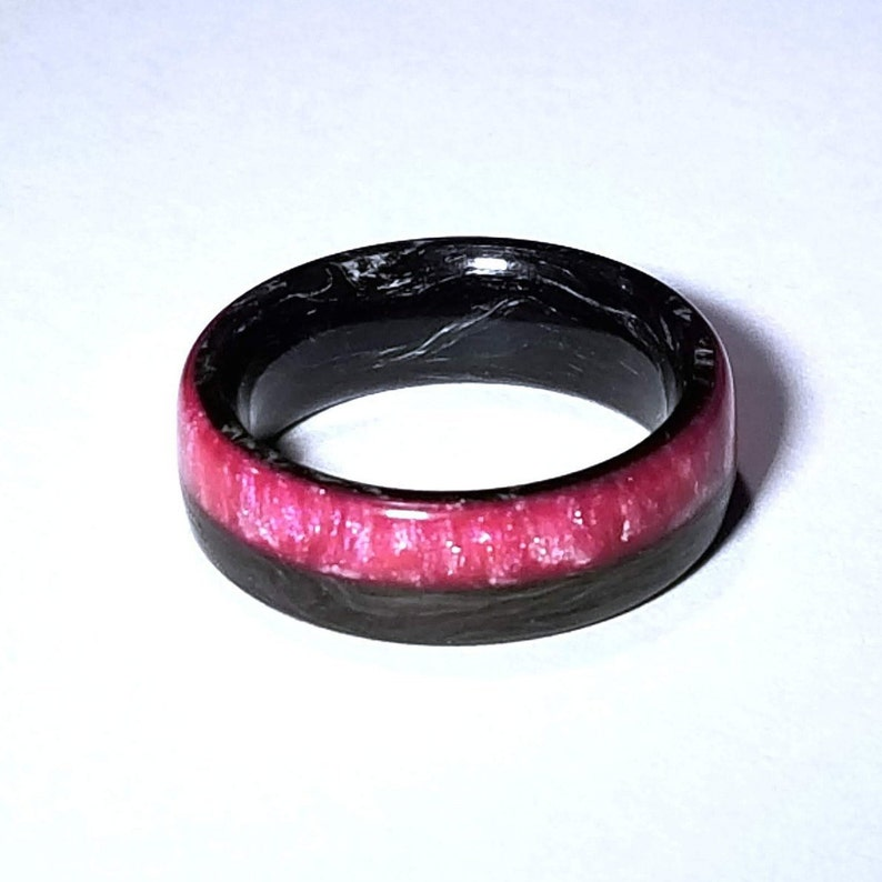 Forged Carbon Fiber Ring With Flamingo Pink And Pearl Resin Inlay For Men Or Women Men/'s Wedding Band Wedding Ring