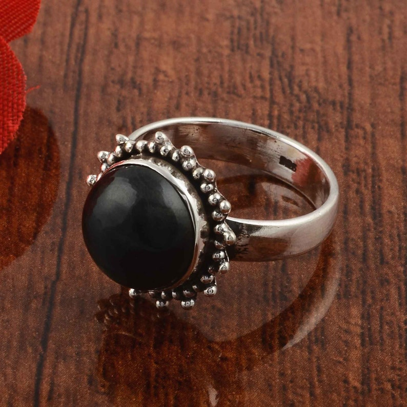 Black onyx ring Boho rings onyx ring Gemstone ring Gift for her Handmade ring Silver jewelry Sterling silver ring