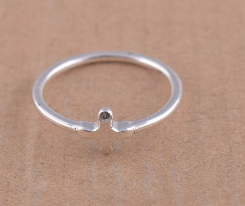 Sterling Silver Rope Ring Celebrity Style Sideways Cross Ring with Twisted Rope Design Yellow or Rose Gold