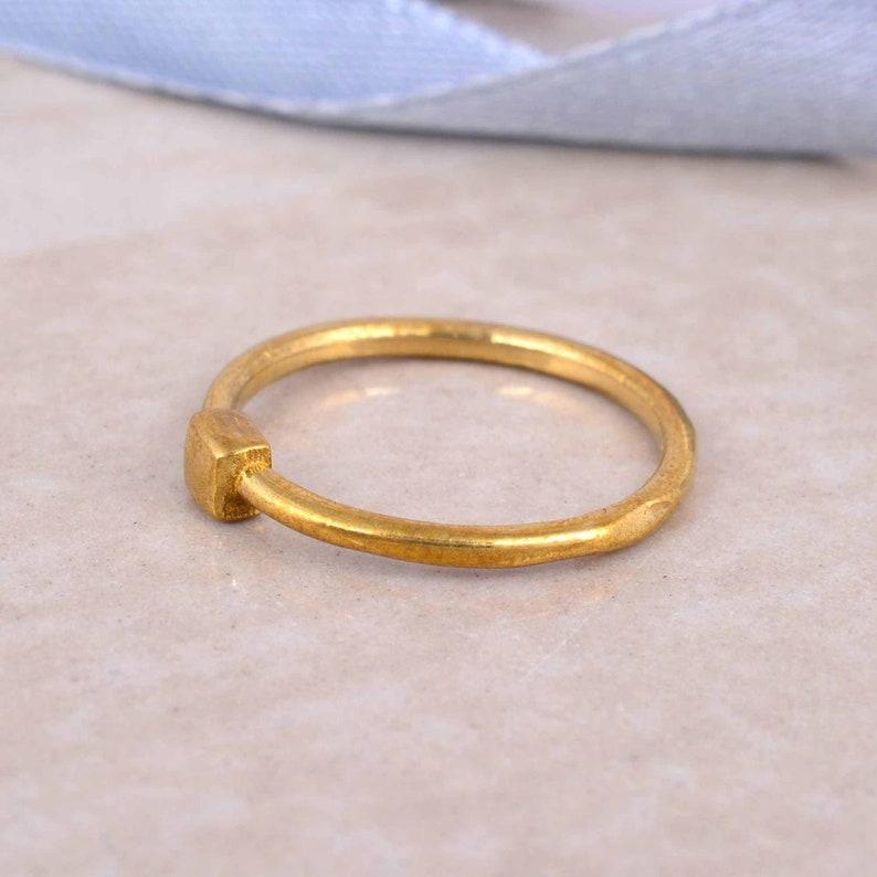 square top brass ring,simple ring,boho ring,midi rings