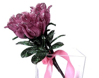 Pink fake flowers in vase centerpieces Beaded roses Floral arrangements 3rd anniversary gift for wife her  sc 1 st  Etsy : fake flowers in vase - startupinsights.org