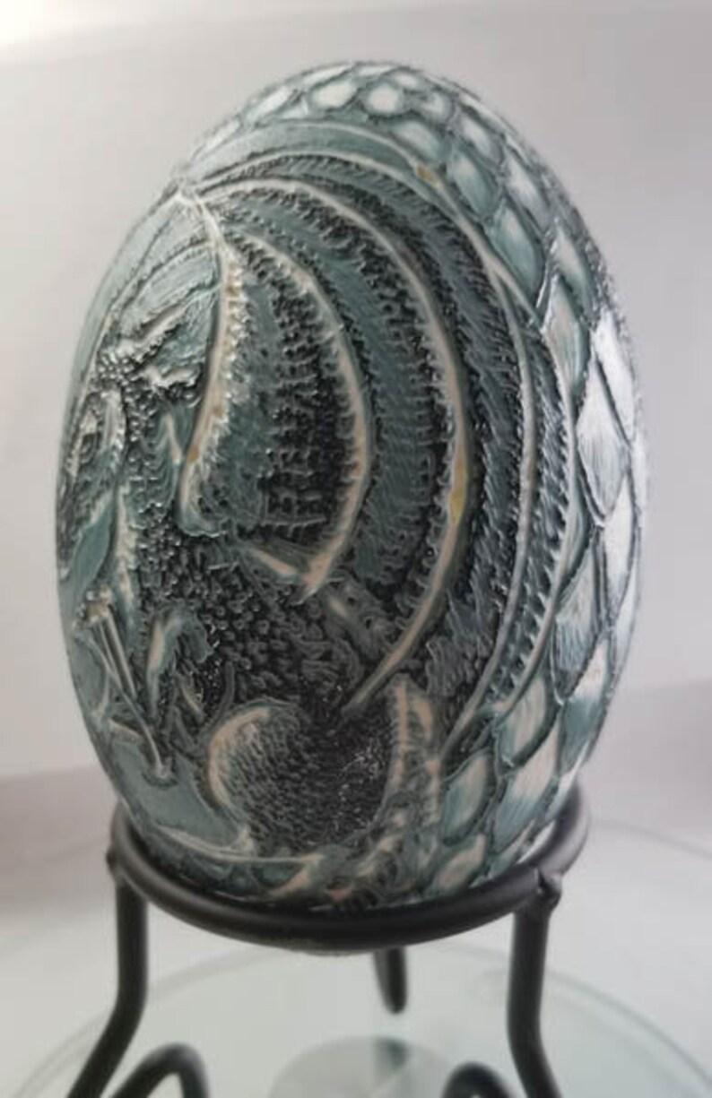 Etched Emu Egg Dragon