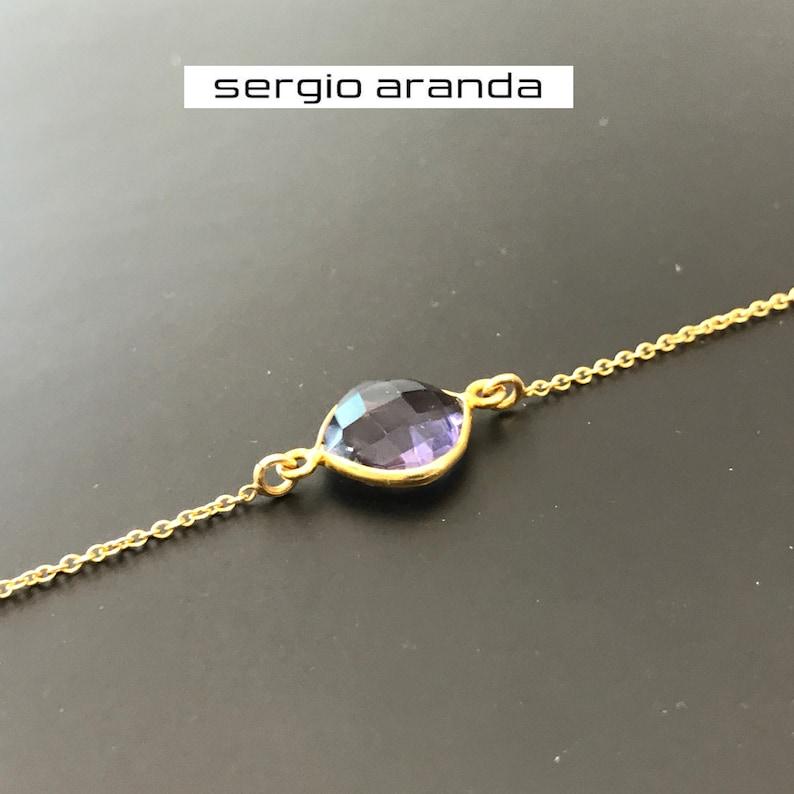 Gift For Her Gems Bracelet with Gold plating Minimalist Jewelry Amethyst bracelet